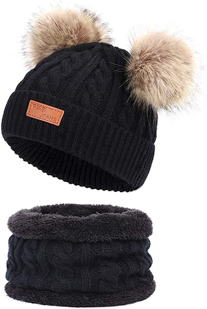 Infant Toddler Woolen Hat Pure Color Winter Twist Double Pom Pom Knitted Beanies Cap 0-3Y