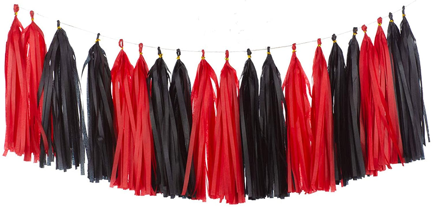 We Moment Tissue Paper Tassels Party Tassel Garland Banner for Party Decorations, DIY Kits,Black,Red,Pack of 20