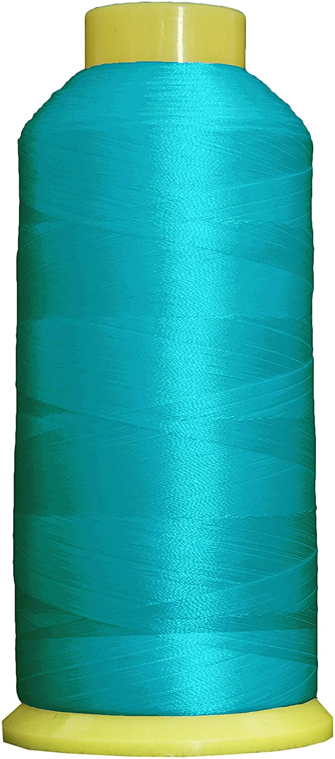 Threadart Large 5000m Cones Polyester Machine Embroidery Thread | Huge 5000M (5500 Yard) Cones 40wt | Compatible With Janome Bernina Embroidery & Sewing Machines | No. 464 - Turquoise