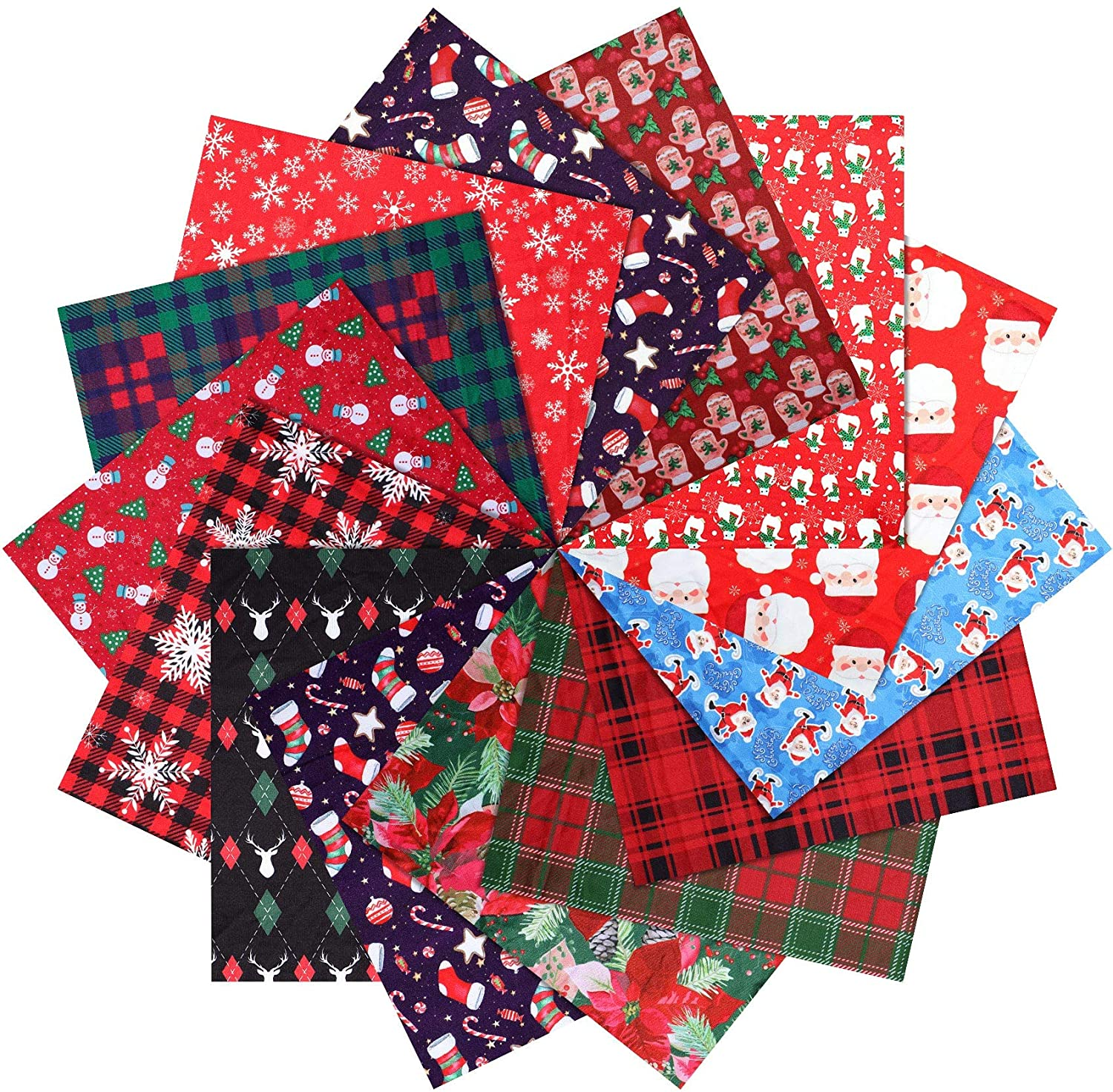 28 Pieces Christmas Fabric Cotton Bundle Xmas Quilting Fabric Patchwork Plaid Check Fabric Fat Quarter Precut Fabric Scraps Christmas Tree Santa Claus Snowman Fabric for Sewing Crafting 7.8 x 9.8 Inch