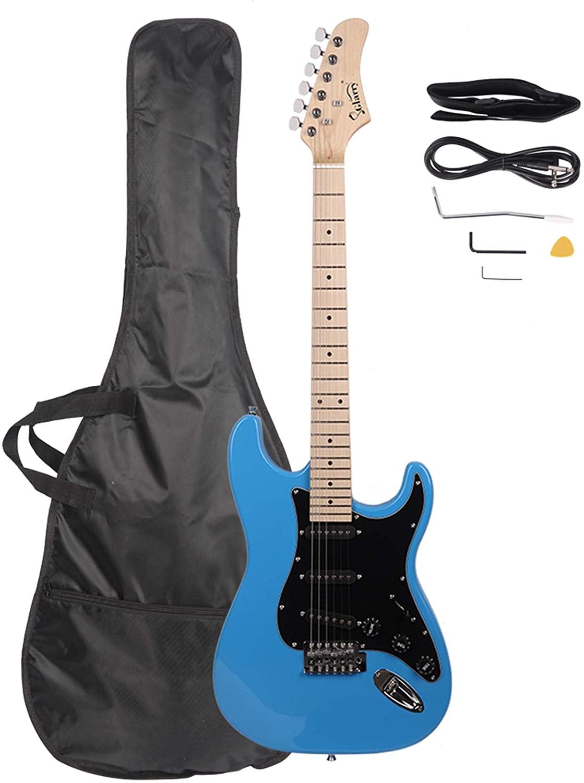 Glarry GST Stylish Electric Guitar Kit with Black Pickguard Sky Blue - Electric Guitars for Beginner Starter