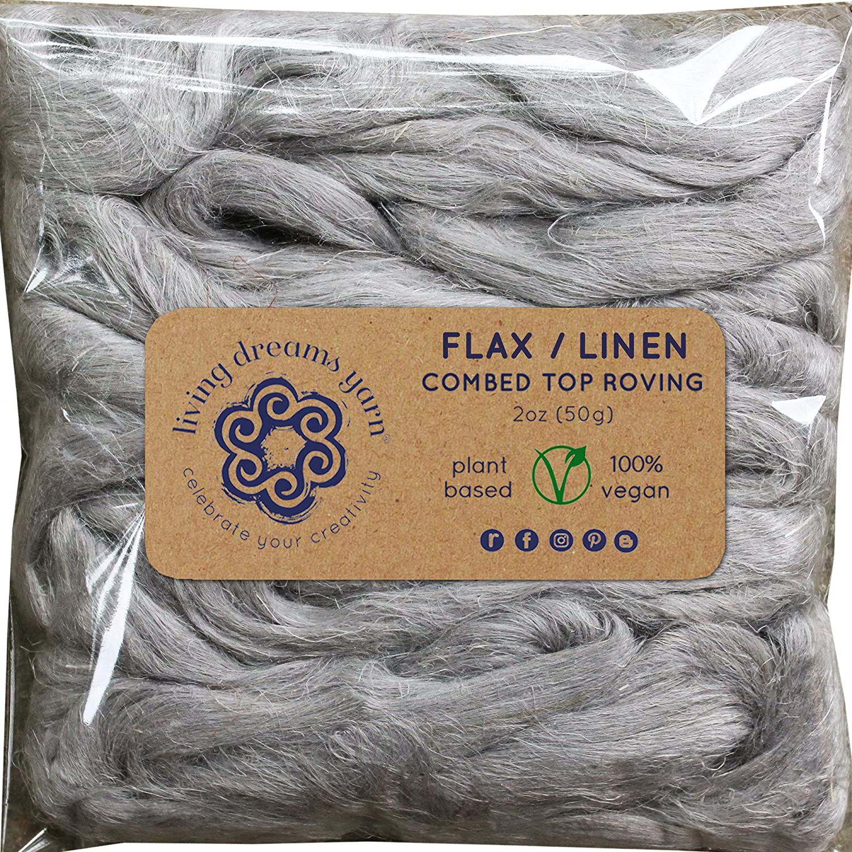 Flax Fiber for Spinning, Blending, Fiber Arts. Natural Vegan Combed Top Roving. Silver