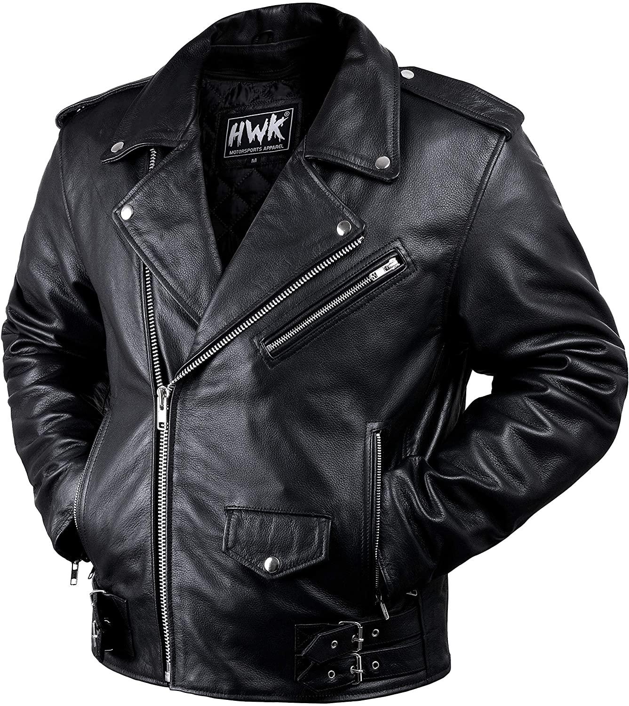Leather Motorcycle Jacket For Men Moto Riding Cafe Racer Vintage Brando Biker Jackets CE Armored (M)