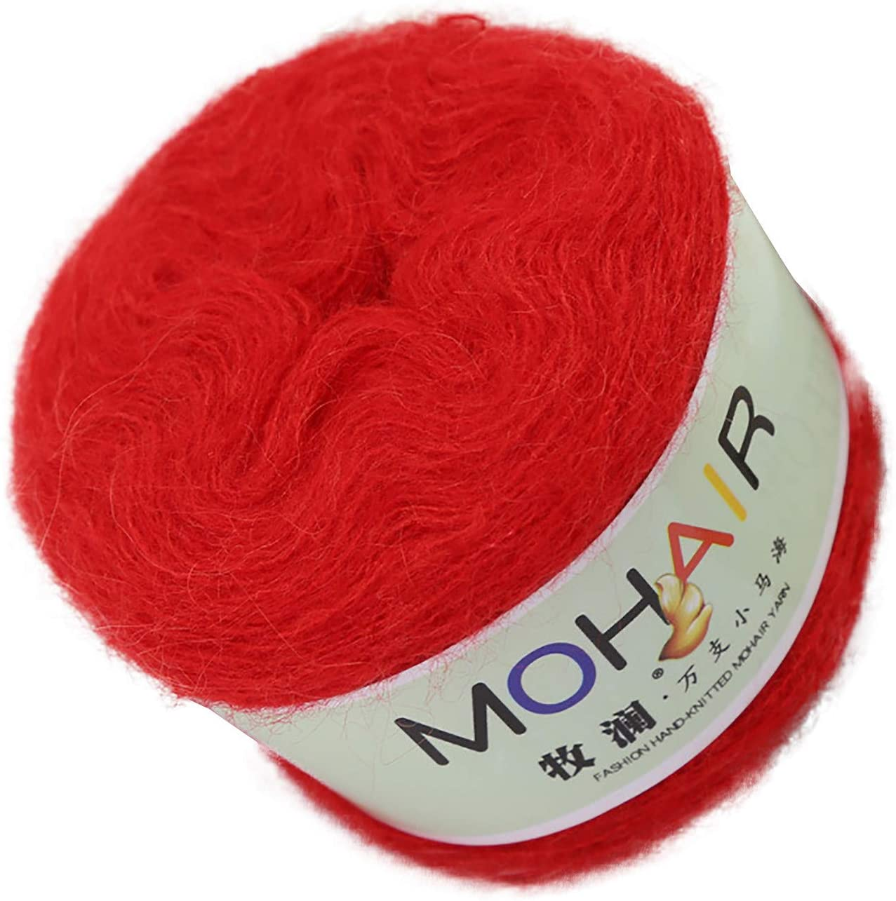 Soft Yarn for Knitting and Crochet, Mohair Knitting Yarn Hand Knitting Yarn Weaving Yarn Crochet Thread for Scarf Hat Sweater Baby Blanket (Red)