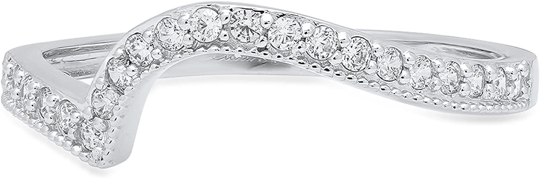 Clara Pucci 0. 41 ct Round Cut Curved Chevron V Shape Pave Bridal Anniversary Engagement Wedding Band 14K White Gold