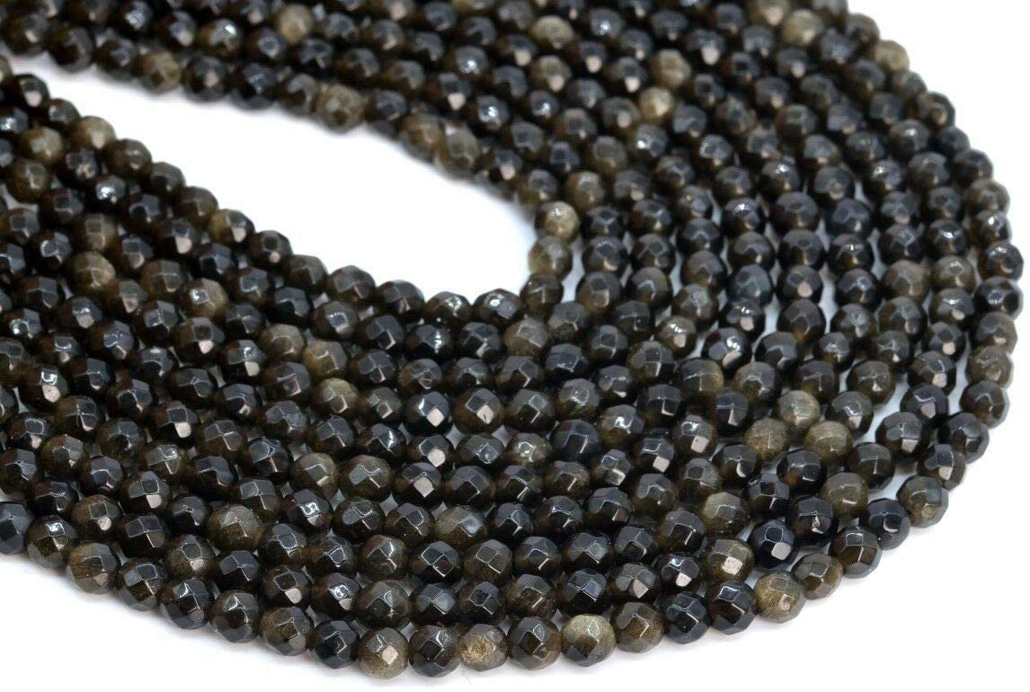 (Approx. 46 Beads / 7.5 Strand) 4MM Natural Golden Obsidian Beads Grade AAA Micro Faceted Round Loose Beads