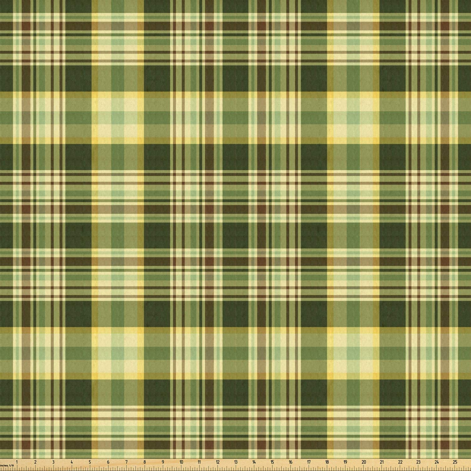 Ambesonne Olive Green Fabric by The Yard, Quilt Pattern Traditional Scottish Design Checkered Geometrical, Stretch Knit Fabric for Clothing Sewing and Arts Crafts, 10 Yards, Dark Green Yellow Brown