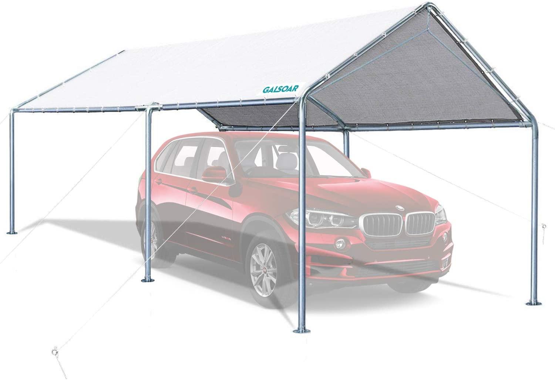 GALSOAR Carport, 10 x 20 ft Heavy Duty Car Canopy for Snowy, Rainy Sunny Days, Rust Resistant Galvanized Steel Framework Car Tent, White