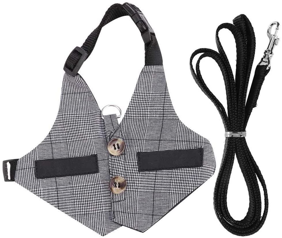 Ymiko Rabbit Vest Harness and Leash Set Adjustable Formal Suit Style for Kitten Small Animal Walking Jogging