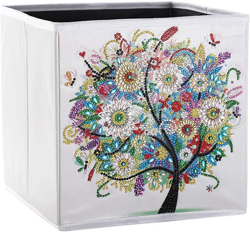 hongxinq DIY Diamond Painting Storage Box Tree Pattern Organizer Bin Sundries Container Home Decor