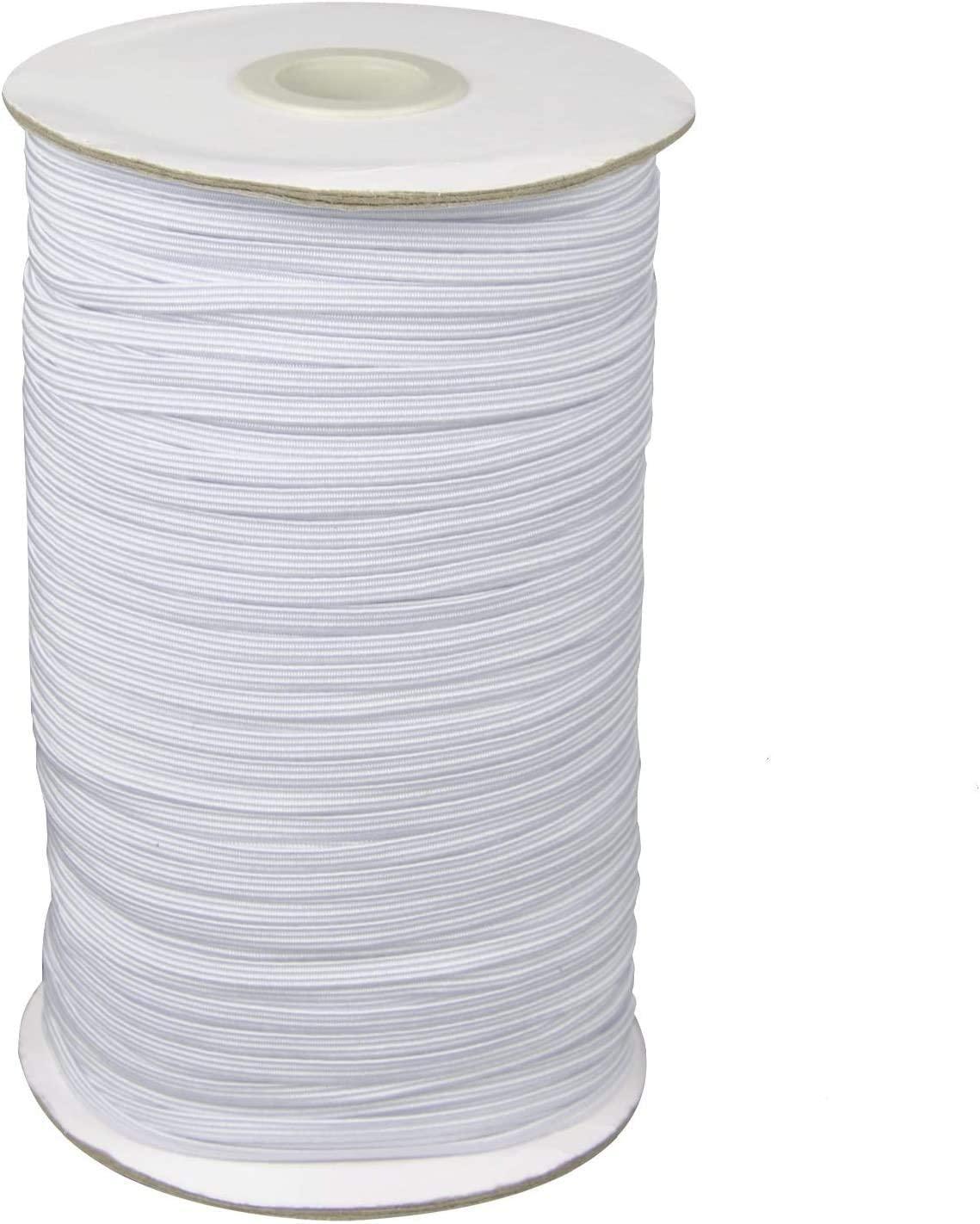 1/4 Width Braided Elastic Band Cord Elastic String 110 Yards Heavy Stretch High Elasticity Knit Elastic Band for Sewing Craft DIY - White