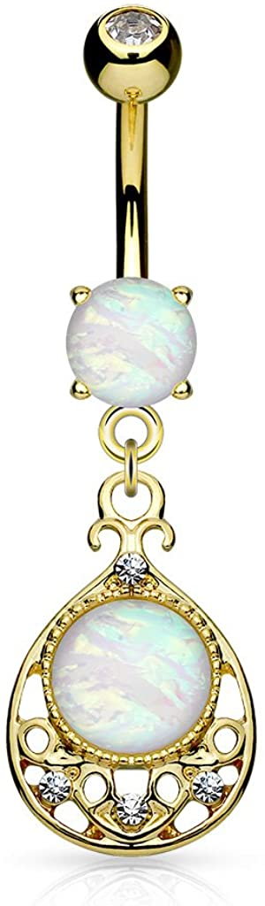 FIFTH CUE 14G Opal Glitter Center Vintage Filigree Dangle Surgical Steel Belly Button Navel Rings