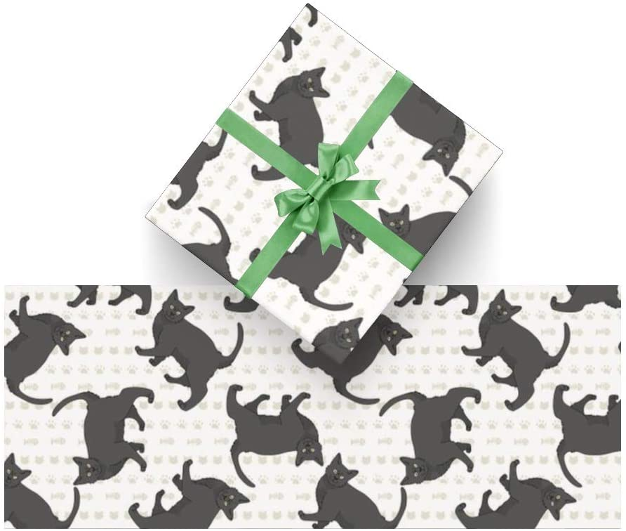 Wrapping Paper Cat Cute Animal for Christmas, Birthday, Valentines Day, Bridal or Baby Showers and More- 3Rolls - 58inch x 23inch Per Roll