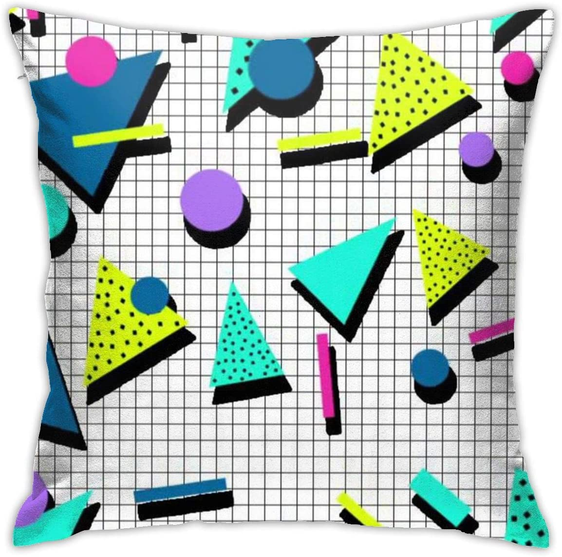 antkondnm 80s Pattern Throw Pillow Cover Pillow Case Square Cushion Cover for Sofa Couch Home Car Bedroom Living Room 18 x 18