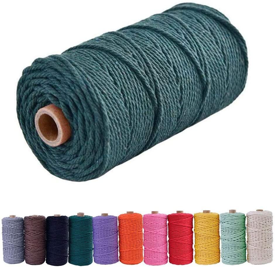 Bytron Macrame Cord 3mm Cotton Cord Macrame Twine DIY Natural Yarn Cotton Macrame Rope Cotton Yarn Twine String Cord for DIY Wall Plant Hanger Craft and Making Dream Catcher 328feet (Dark Green)