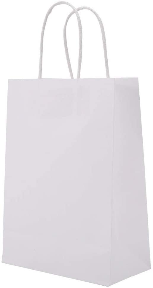 Kraft Paper Bags 25 PCS Gift Bag Handles for Shopping Gift(White)