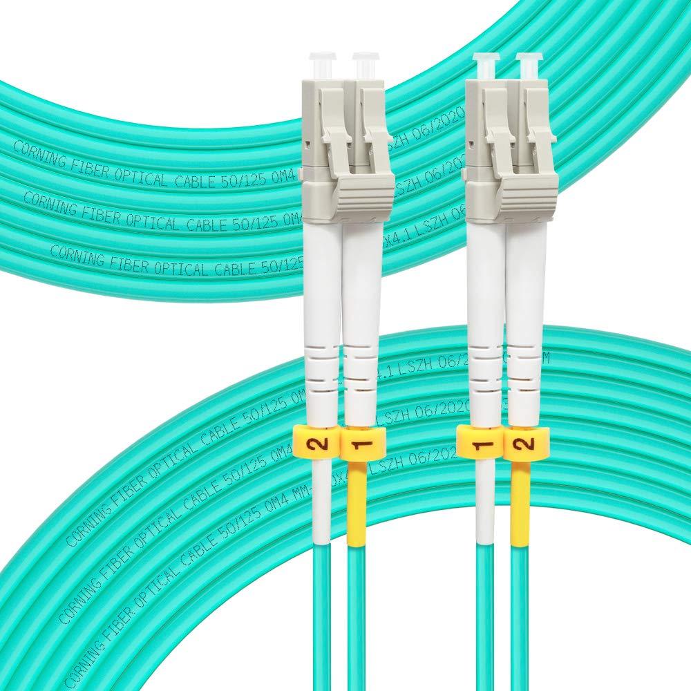 FLYPROFiber-Fiber Patch Cable OM4 Multimode Duplex 15Meter(49FT) LC-LC 50/125um Fiber Optic Cable 40Gb/100Gb Fiber Patch Cord