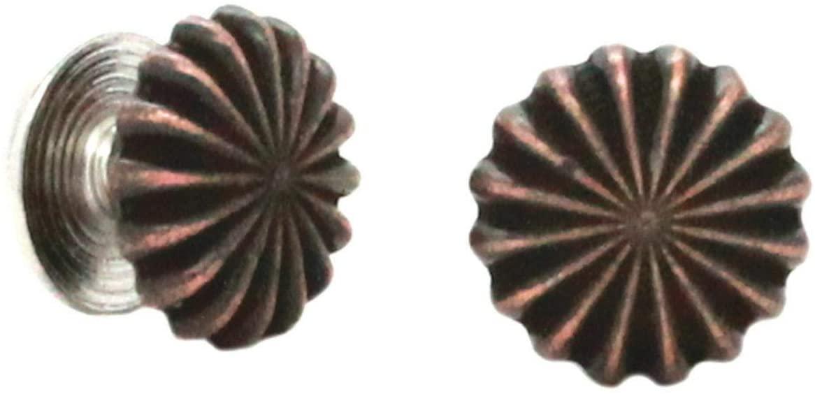 Conchos for Belt - Leather Fastener - Pinwheel Chicago Screw Concho Antique Copper 1/2