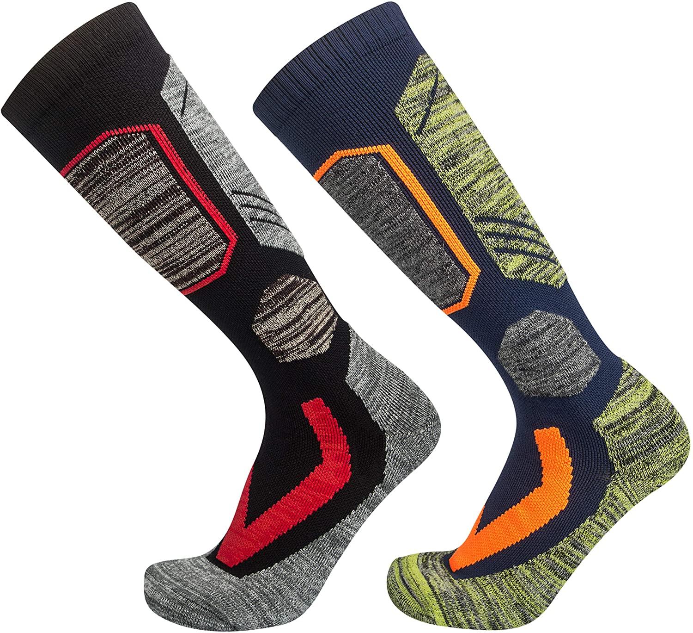 2 Pairs Ski Socks Mens Women, Warm Snowboard Socks for Cold Weather Cozy Winter Socks Outdoor Sports