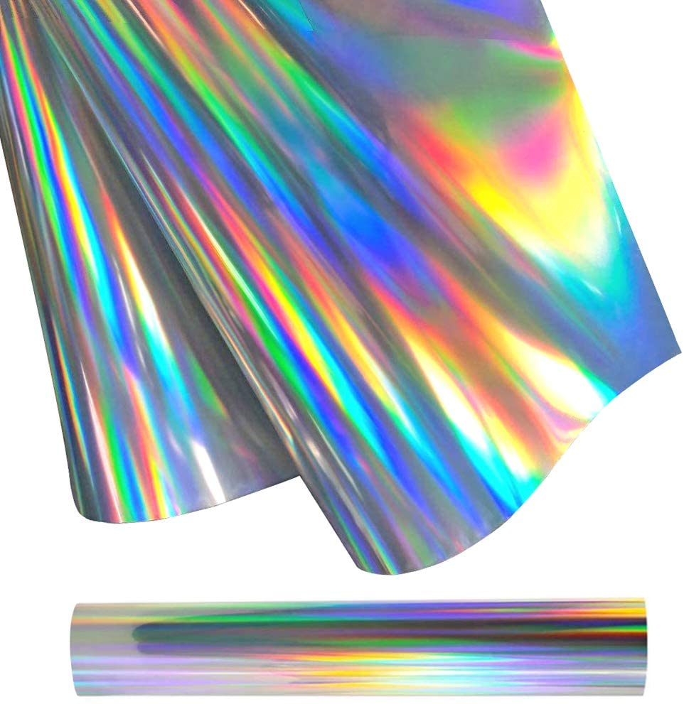 Holographic Heat Transfer Vinyl Roll 12 Inches x 5 Feet Iron-On HTV Vinyl for T-Shirts DIY & Fabrics (Holographic Silver)