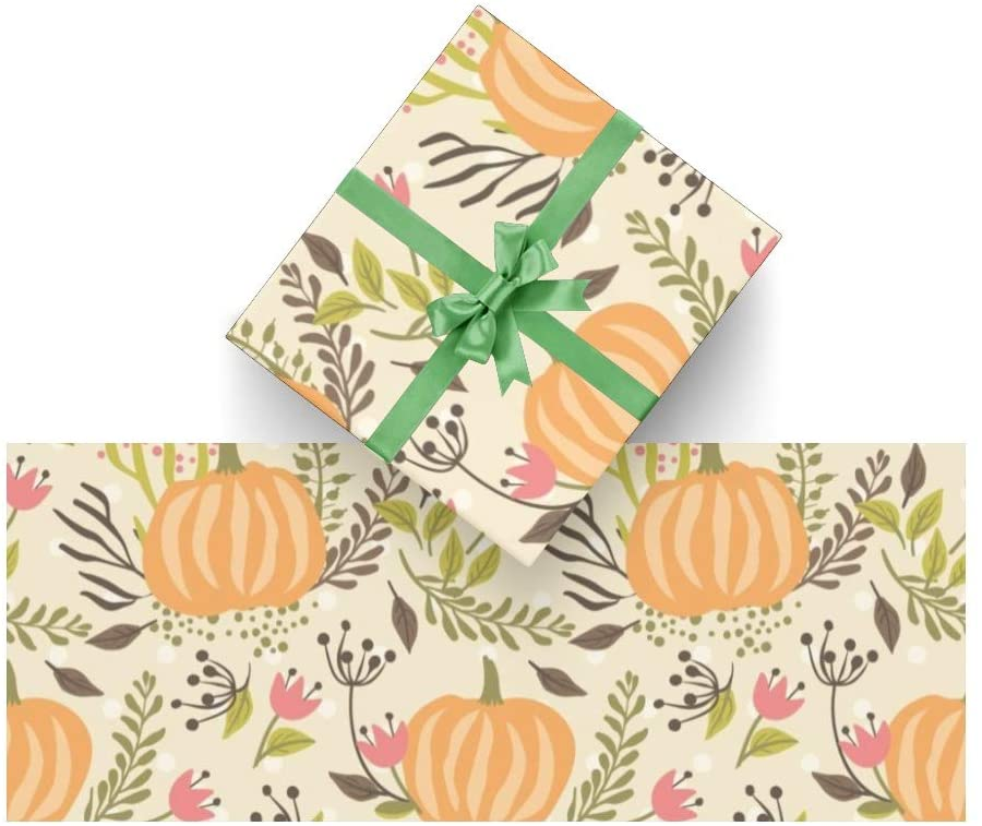 CUXWEOT Gift Wrapping Paper Autumn Thanksgiving Pumpkin for Christmas,Birthday,Holiday,Wedding,Gifts Packing - 3Rolls - 58 x 23inch Per Roll