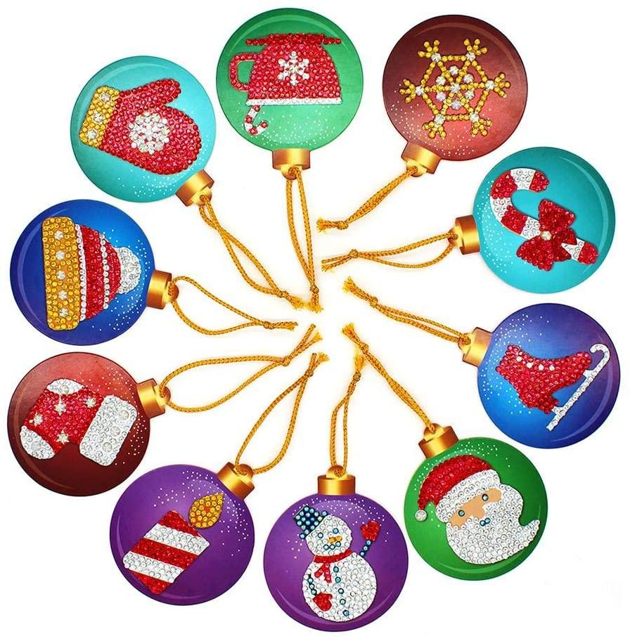 WinnerEco DIY Christmas Tree Ornaments with Diamond Painting, 10pcs DIY Diamond Painting with Special Shape Christmas Tree Pendants Decoration Handicraft Cards for Christmas Tree Home