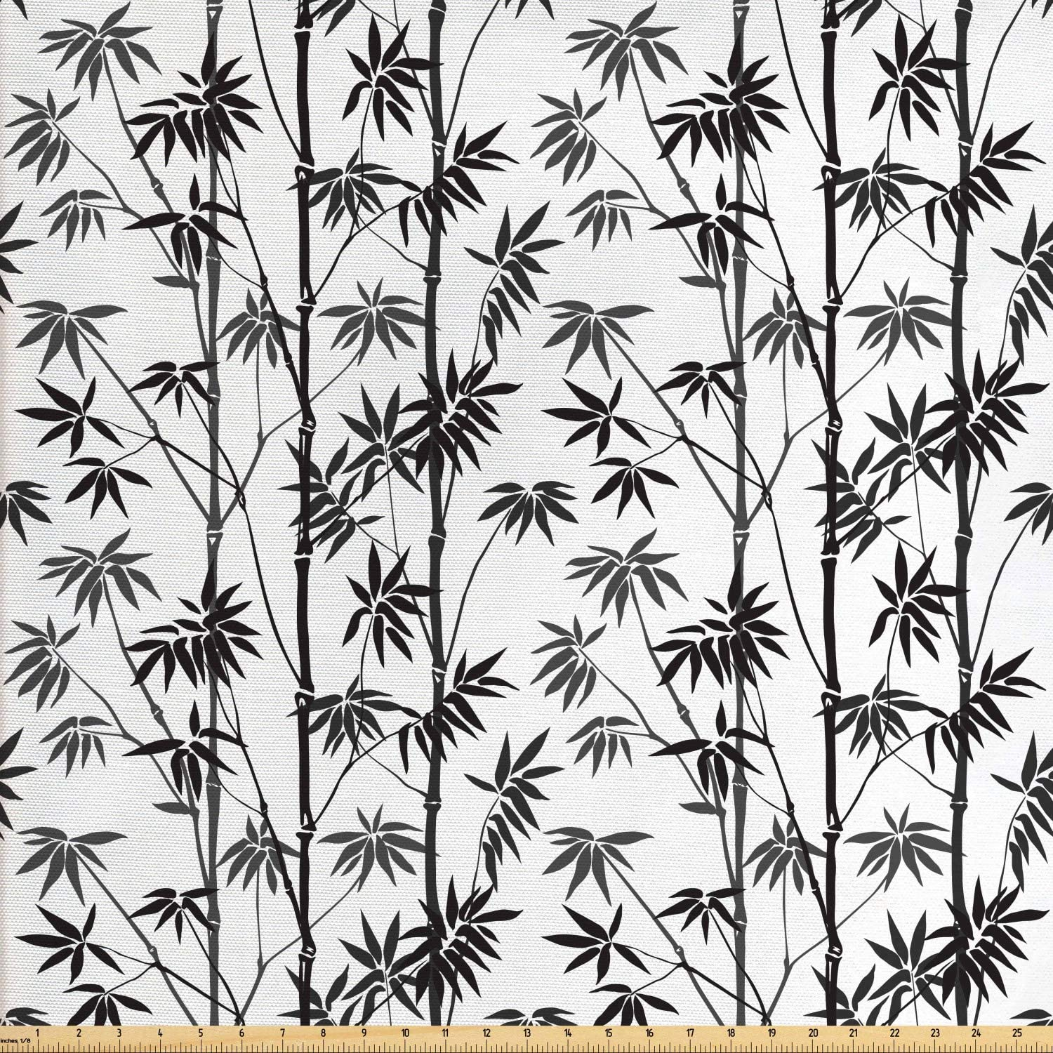 Lunarable Bamboo Fabric by The Yard, Monochrome Exotic Trees Pattern Flora Garden Japanese Nature, Decorative Fabric for Upholstery and Home Accents, 2 Yards, Black White