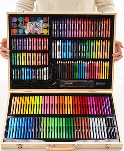 NNTTY 288-Piece Deluxe Art Sets for Painting & Drawing,Art Supplies in Wooden Case, Oil Pastels, Colored Pencils, Watercolor Cakes,ainting & Drawing Set Professional Art Kit for Kids