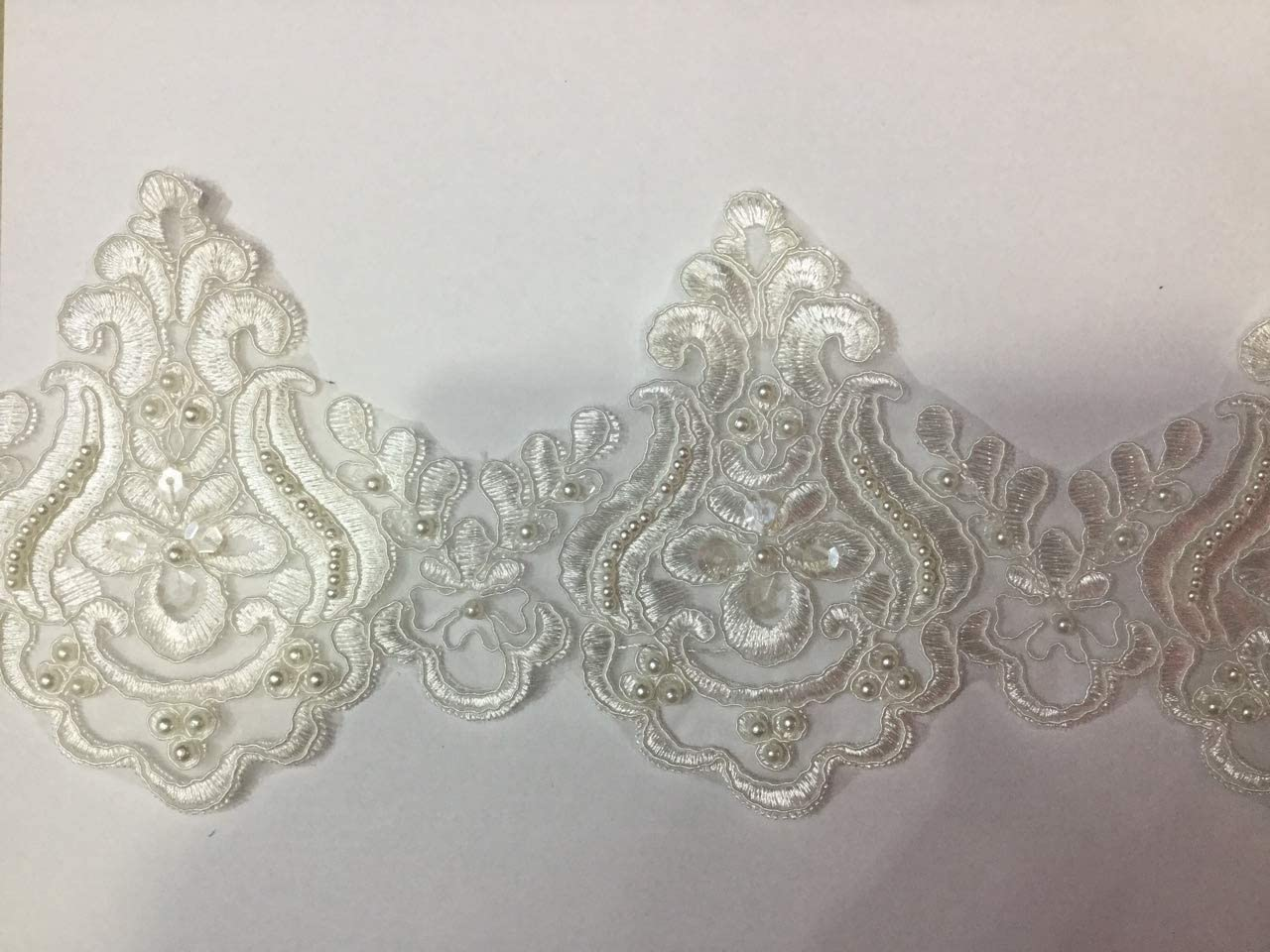 Beaded Lace Trim Sequinned Vintage Decorative Wedding/Bridal DIY Craft Sewing Coloured Fabric TR3 (White 5 Yards)