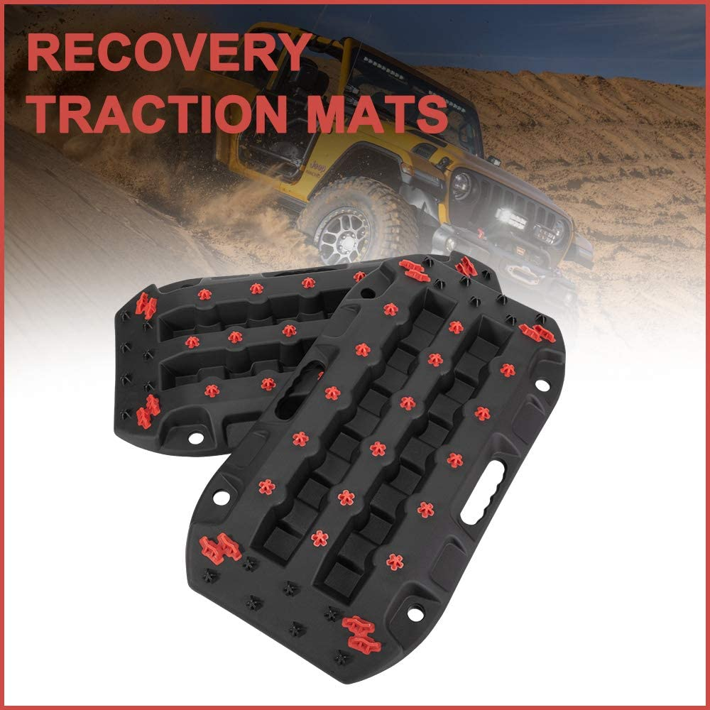 DEFEND INDUST Traction Boards - 2 Pcs Black Traction Mat for Sand Mud Snow Track Tire Ladder 4X4 - Recovery Traction Tracks