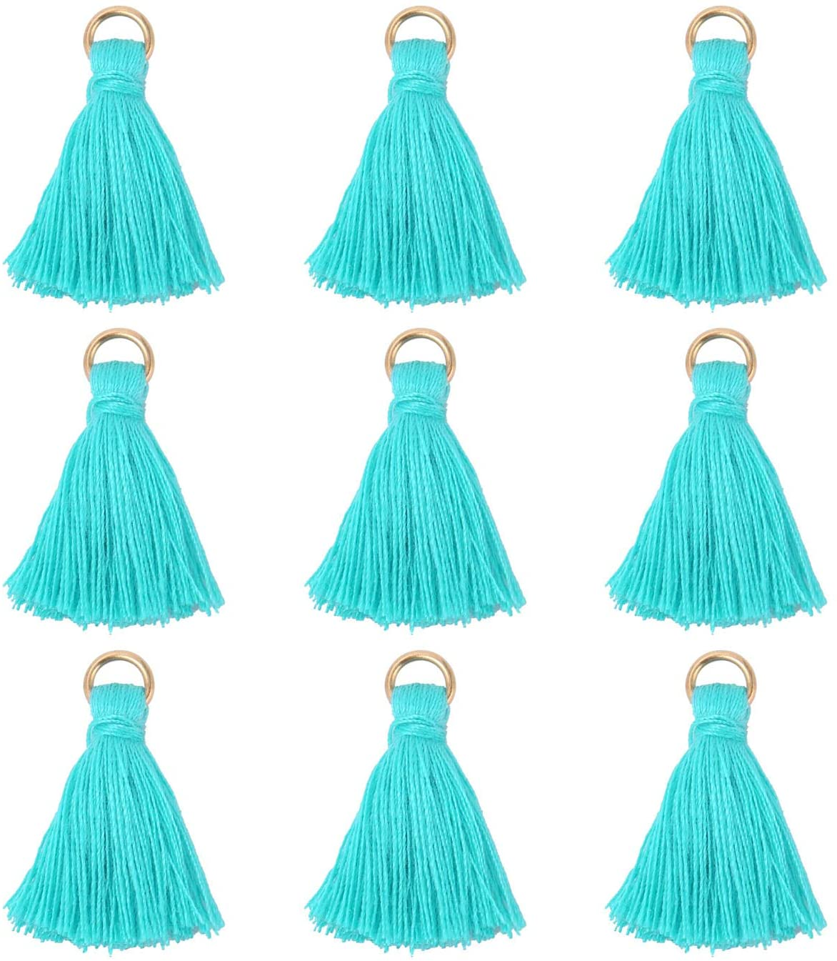 Wholesale 100pcs Mini Tassels Charms Short Cotton Gold Tassel Supplies for Crafts and Jewelry Making (Aqua Blue)