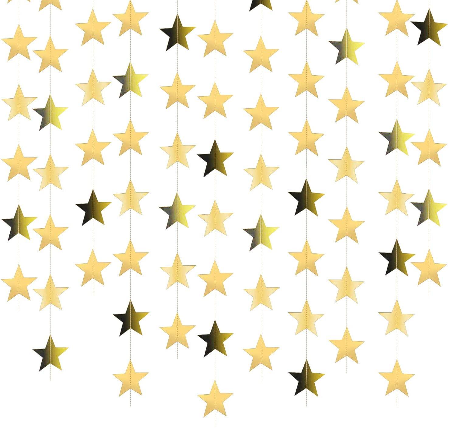 130 Feet Bright Gold Star Garland Banner Decorations Star Paper Garland Star Hanging Garland for Engagement or Wedding Party Birthday Christmas Decorations