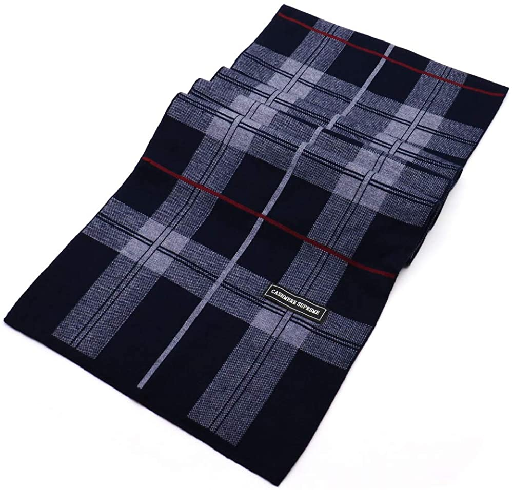 Men's Winter Classic Cashmere Feel Soft Warm Big Grid Knitted Fashion Striped Long Scarf with Gift Box