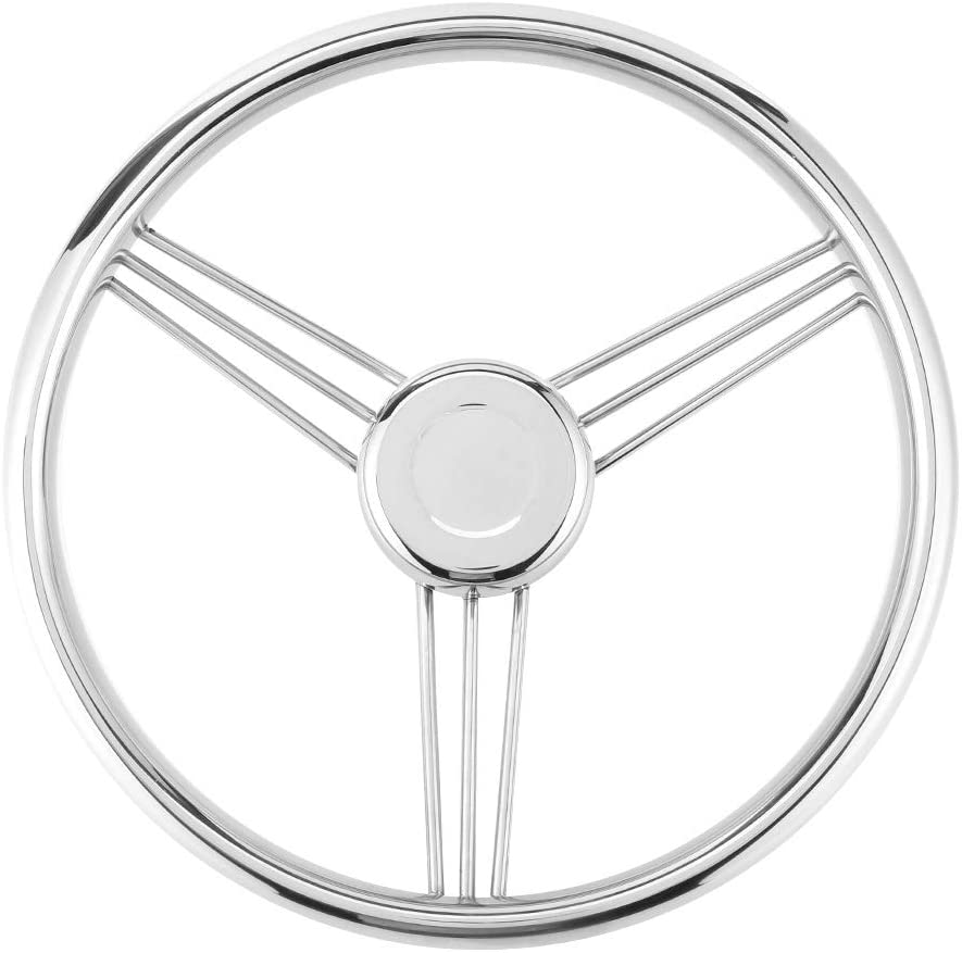 Akozon Steering Wheel 13-1/2 Inch 9 Spoke Stainless Steel 15 ° Yacht Polished Marine Boat Accessories