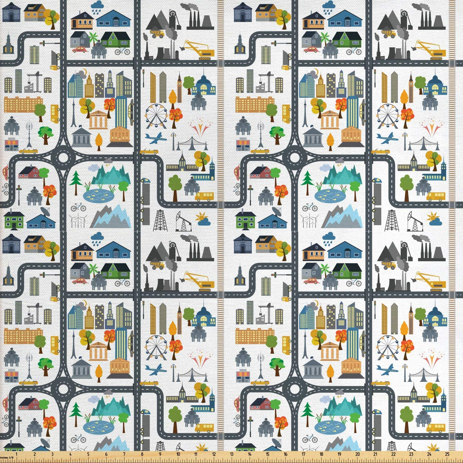 Ambesonne Car Race Track Fabric by The Yard, Graphic Illustration of Cityscape Divided by Roads Nursery Activity, Decorative Fabric for Upholstery and Home Accents, 2 Yards, White Grey