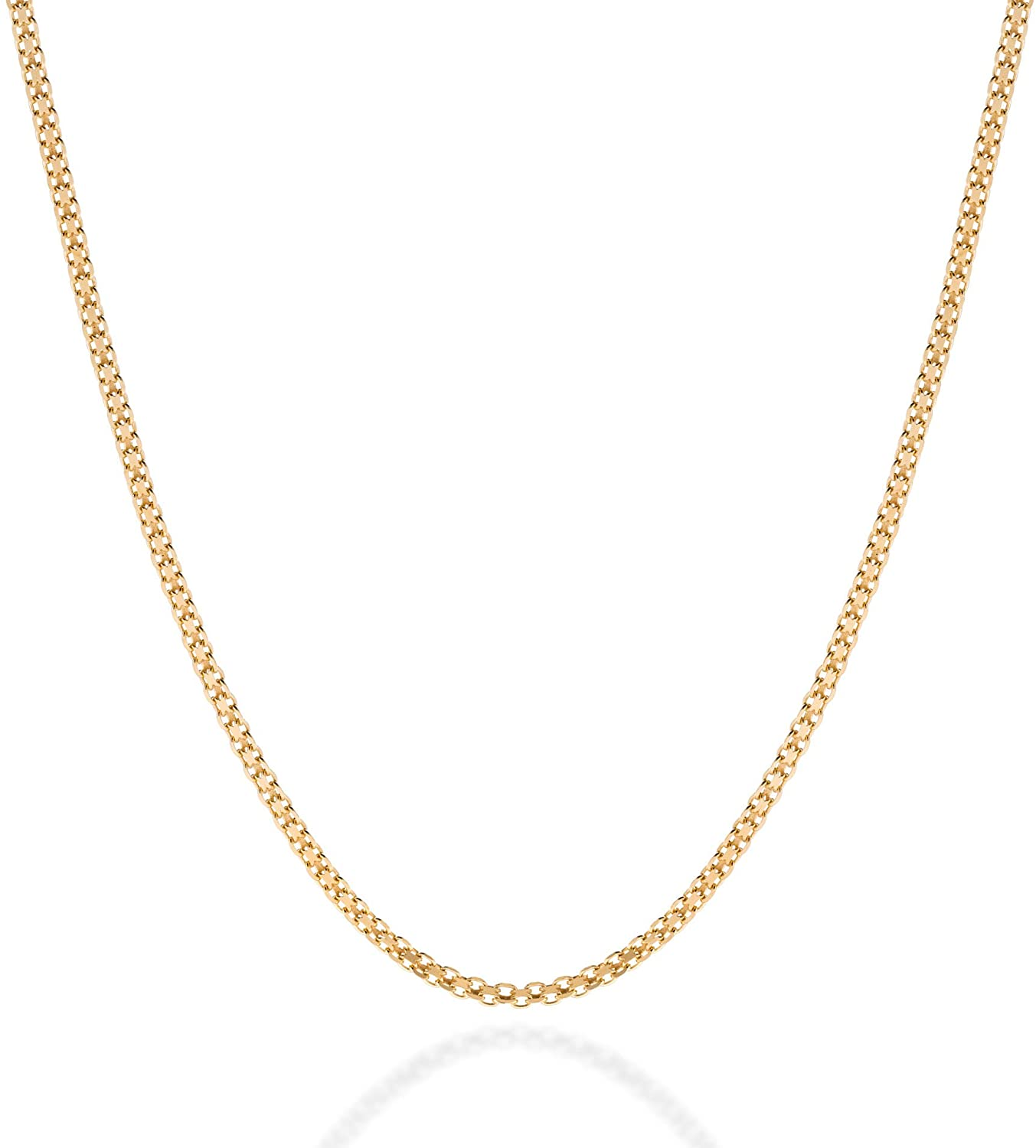 QUADRI for Men Women - 16 18 20 inch Certified 18K Gold over Sterling Silver Necklace Chain Bismark Mesh - 2.5mm - Made in Italy