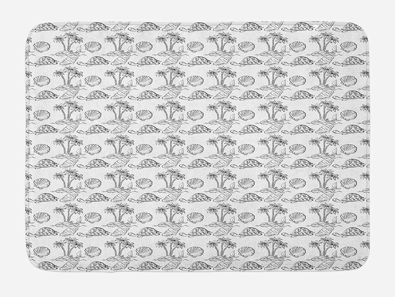 Lunarable Sketch Bath Mat, Sea Island with Palm Trees Boat Turtles Shells Hawaiian Ecology Turtles Scallops, Plush Bathroom Decor Mat with Non Slip Backing, 29.5
