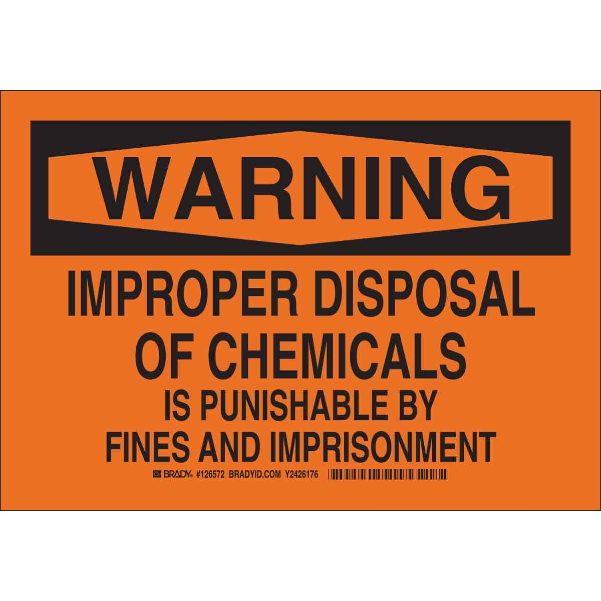 Brady 126572 Chemical and Hazard Sign, Legend