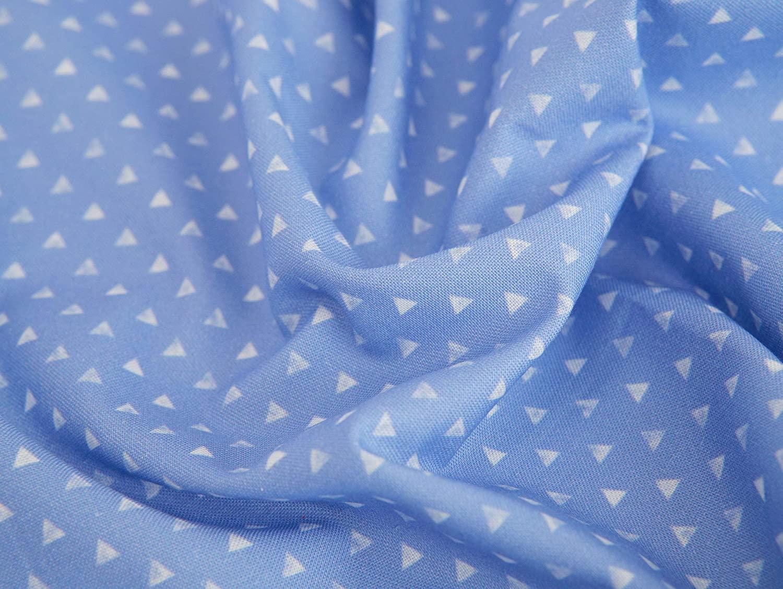 COTTONVILL EMANON Dot Circle Triangle 20COUNT Cotton Print Fabric (1yard, C-Triangle-05-Blue)