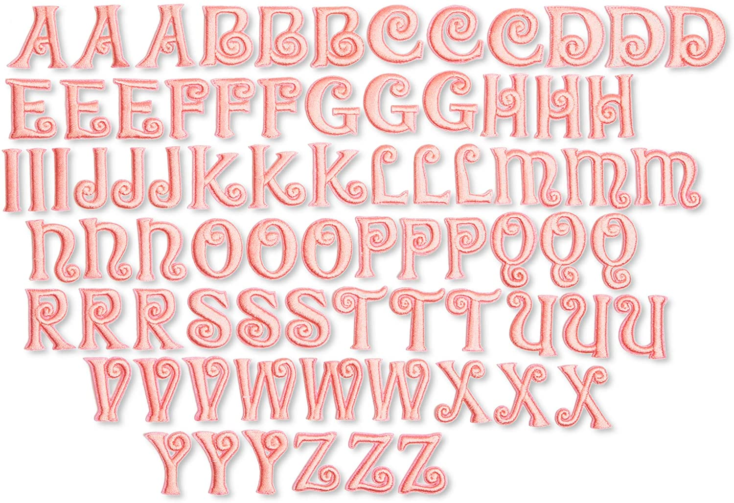 Iron-On Patch, Pink Alphabet Letter Patches for Crafts and Sewing (1 in, 78 Pieces)
