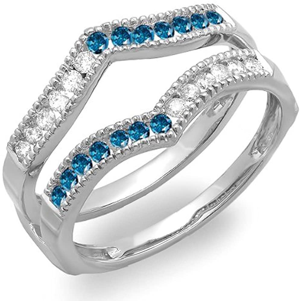 Dazzlingrock Collection 0.45 Carat (ctw) 14k White & Blue Diamond Millgrain Wedding Band Guard Double Ring 1/2 CT, White Gold