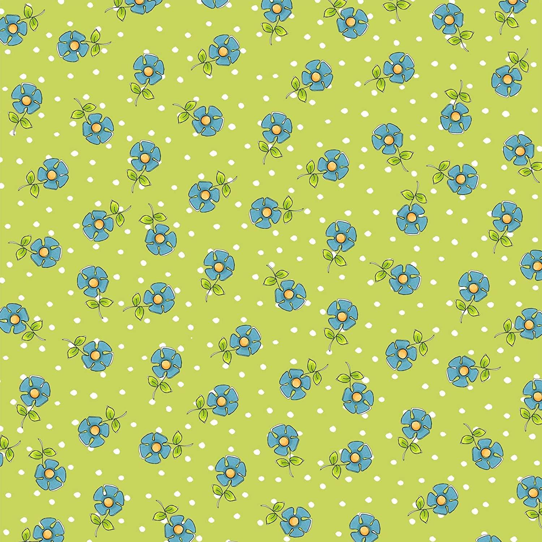 Daisy Dots Green Fabric Yard