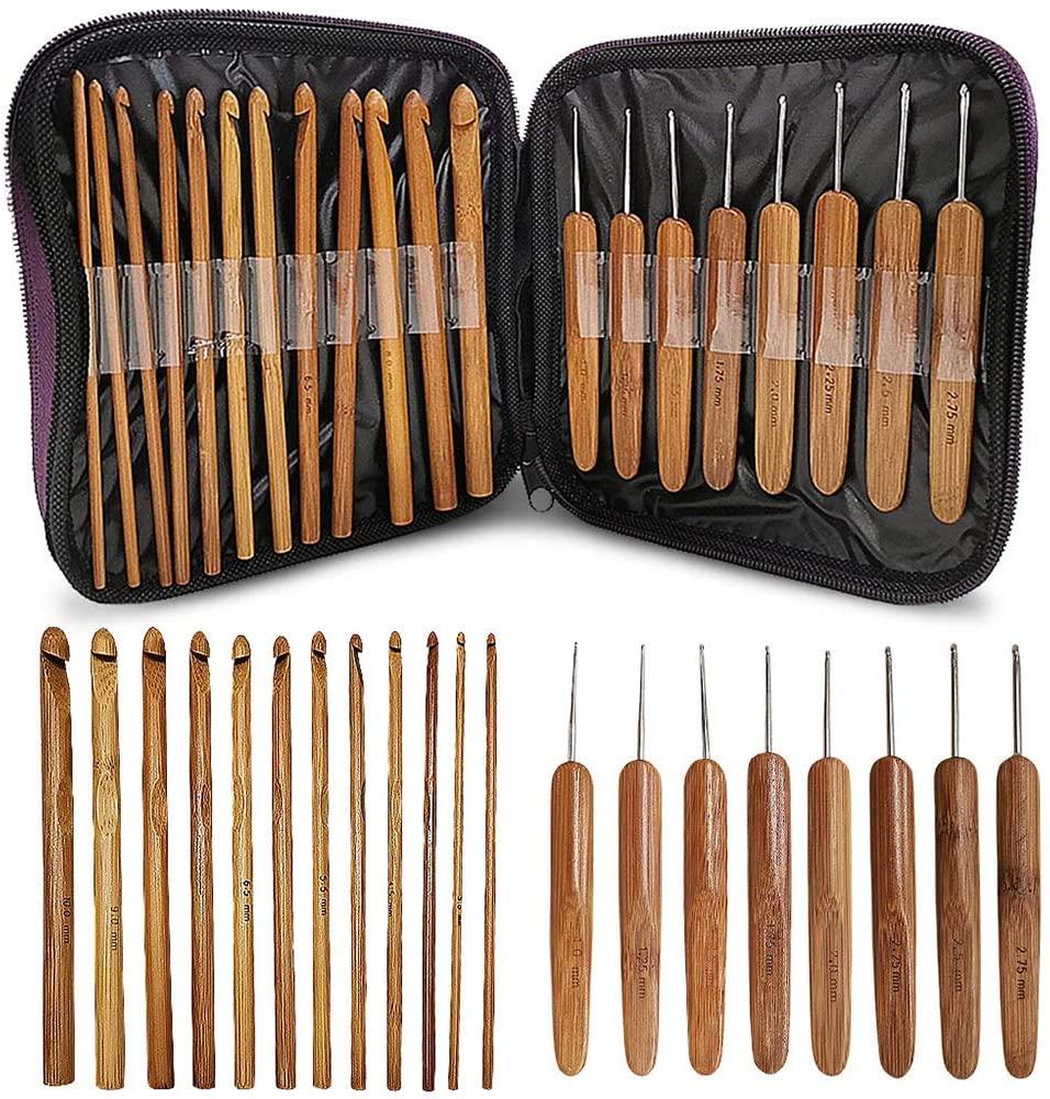 Yiying Bamboo Handle Crochet Hooks Set 20Pcs, Knit Craft Knitting Needle Weave Yarn Tool, Lightweight Ergonomic Eco-Friendly