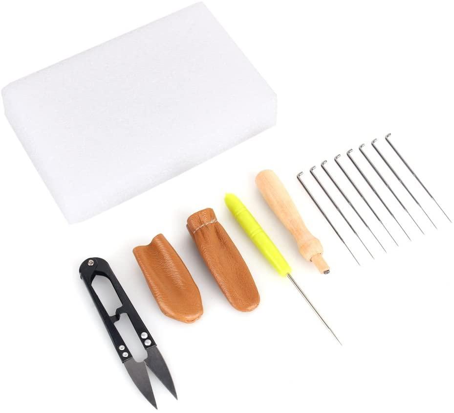 Akozon Needle Felting Craft Kit Set Wool Felt Tools 8 Felting Needles + Wooden Handle + Awl + Felting Foam Pad + 2 Leather Finger Cots + Scissor Craft Kit Accessory Set
