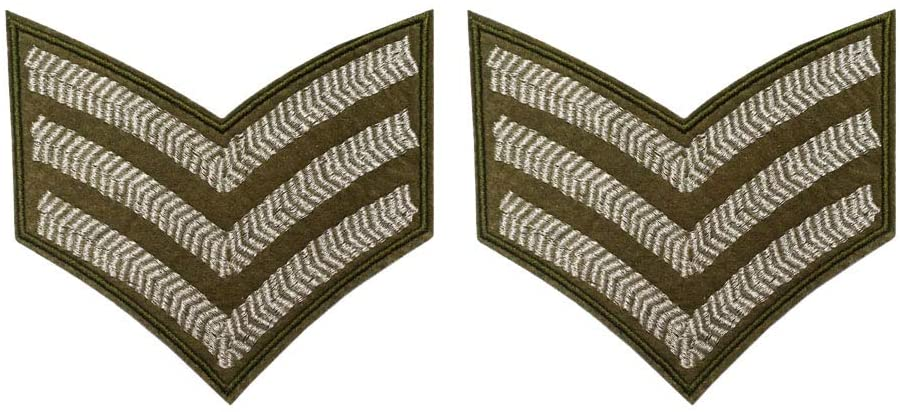 Big Sergeant Stripes Silver Army Military Embroidered Iron on sew on Patch
