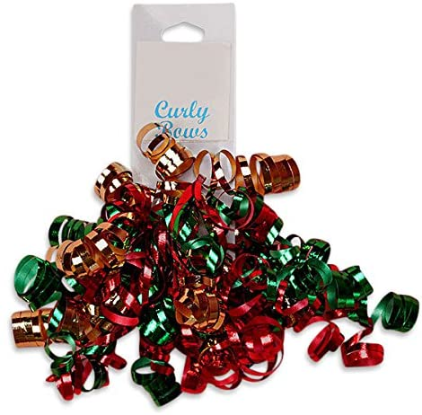 Curly Bows in Christmas Red and Green | Quantity: 24 | Width: 5