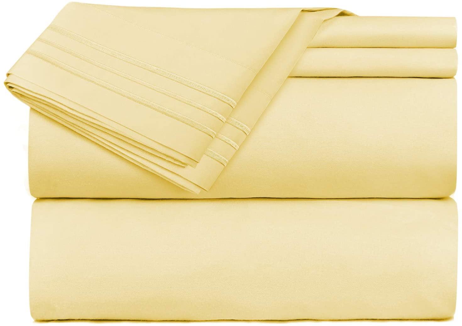 Clara Clark Premier 1800 Series 4 Piece Sheet Set Deep Pocket Brushed Microfiber, Wrinkle, Fade & Stain Resistant, Cal-King, Custard Mellow