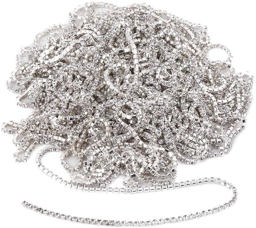 10 Yard 2mm Crystal Rhinestone Close Chain Clear Trim Sewing Craft for Cup Chain Wedding Cake Accessory