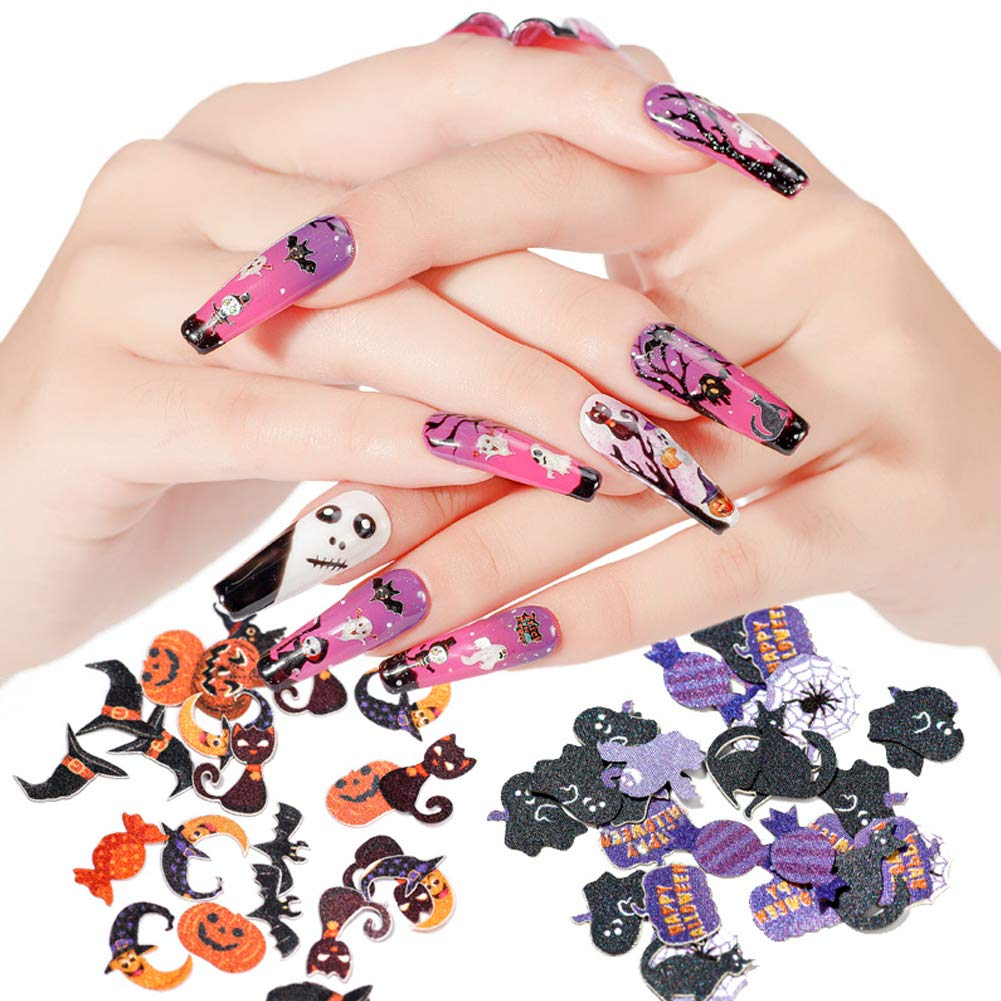 6 Boxes Halloween Nail Art Glitters Halloween Nail Art Flakes Pumpkin Witch Spider Bat 3D Halloween Acrylic Manicure Sequins Holographic Face Body for Nail Art Tips Decor