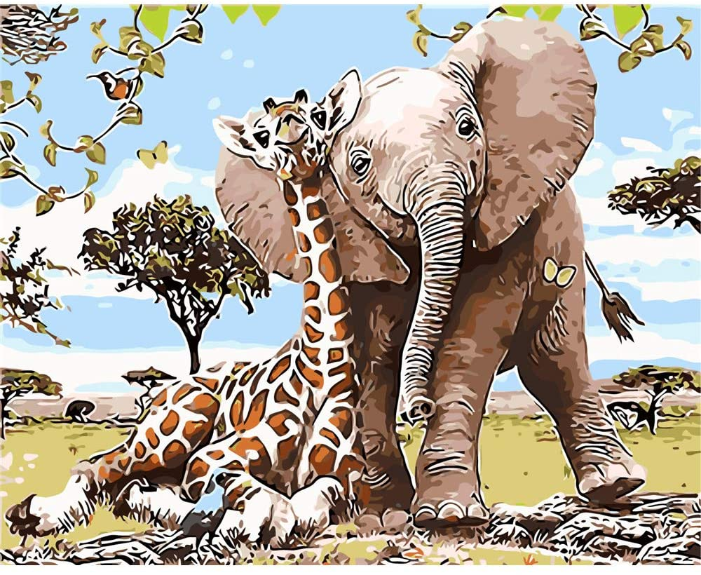 CHUNXIA DIY Oil Paint by Numbers for Kids and Adults Kits,16x20 Inch Canvas with Paintbrushes,Art Crafts Giraffe Animals ZTY014-Y6418